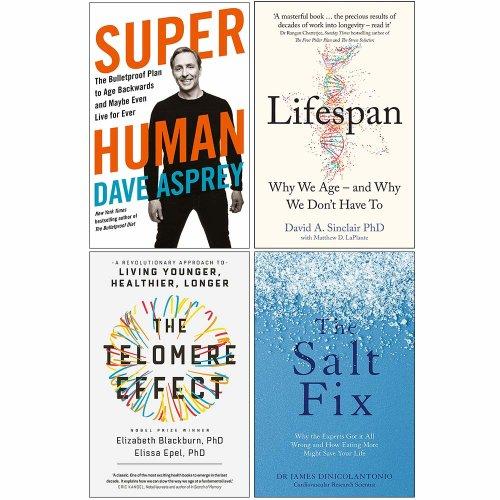 Super Human, Lifespan,Telomere Effect 4 Books Collection Set