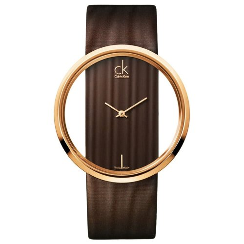 Calvin Klein Glam Ladies Watch Rose Plated Brown Leather Band K9423303