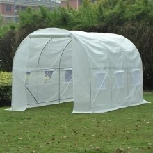 Outsunny Walk-in Greenhouse Poly Tunnel White (2W X 2H (m))