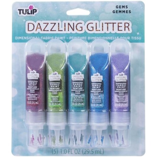 Duncan 40383 2 oz Tulip Dazzling Glitter Gems Dimensional Fabric Paint - Pack of 5