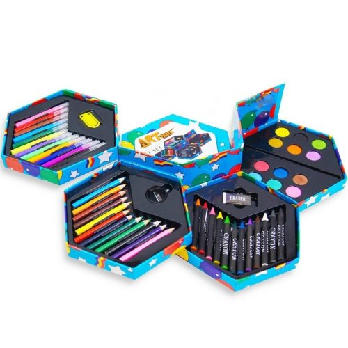 52pc Children's Hexagonal Art Set | Kids' Jumbo Art Box
