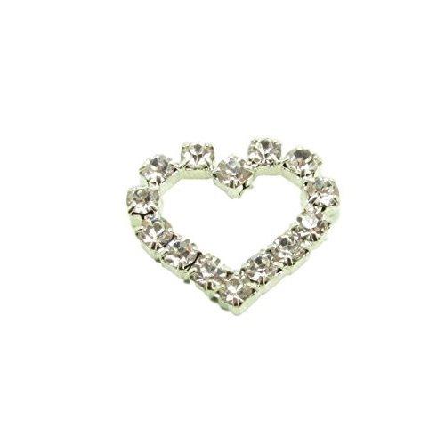 10 x Mini Silver Heart Diamante Rhinestone Embellishment Wedding Cards Craft
