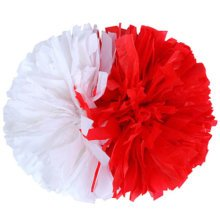 2 PCS Team Sports Cheerleading Poms Match Pom Plastic Ring Red+White