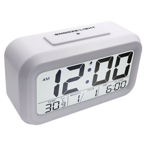 Loyal Large Lcd Display Snooze Digital Alarm Clock Luminous Thermometer Calendar Desktop Table Clocks Home & Garden
