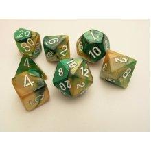 Chessex Gemini Polydice Set - Gold-Green/white