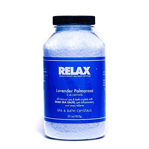 "Lavender Palmarosa Aromatherapy Bath Crystals 22 Oz"" Natural Aroma Therapy Dead Sea Salts for Hot Tubs, Spas amp Whirlpools"