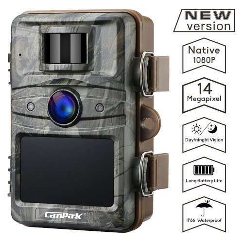 "Campark Trail Camera 14MP 1080P Wildlife Camera Night Vision Motion Activated up to 20M with 2.4"" LCD 44 Pcs Invisible IR LEDs IP66 Waterproof..."