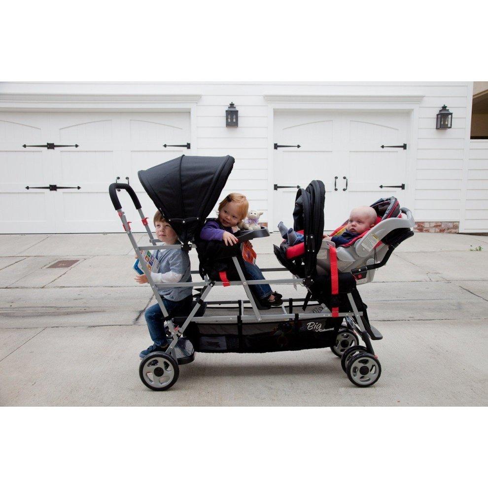 Joovy Bigcaboose Triple Stroller For Newborn Black