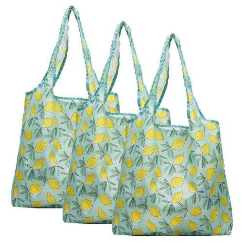 Lemon - 3 Pieces Reusable Grocery Bags Foldable Boutique Shopping Bags Portable Tote Bags Carry Bags