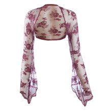 Ladies Wine Lace Bell Sleeve Bolero Size 6-30
