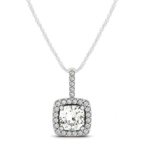 1.35 Carats Round Diamonds Pendant Necklace Without Chain White Gold 14K