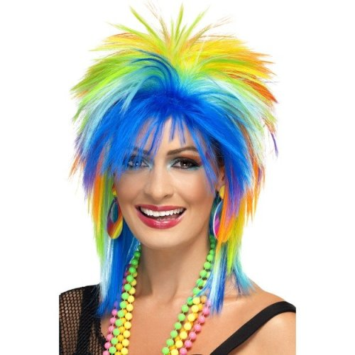 Smiffy's 80's Rainbow Punk Wig - Multi-colour -  wig punk rainbow 80s multicoloured fancy dress smiffys costume womens 1980s