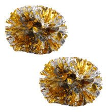 Colorful Large Plastic Baton Handle Cheerleading Poms 120g (Pair), Gold+Silver