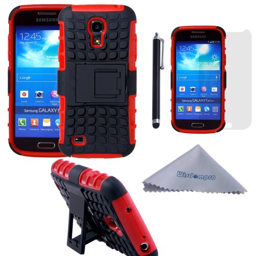 Wisdompro Galaxy S4 Mini Case, [2 Piece in 1] Dual Layers [Heavy Duty] Hard Soft Hybrid Rugged Protective Case with [Foldable Kickstand] for...