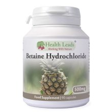 Betaine Hydrochloride (HCL) 500mg x 90 capsules (No Magnesium Stearate)