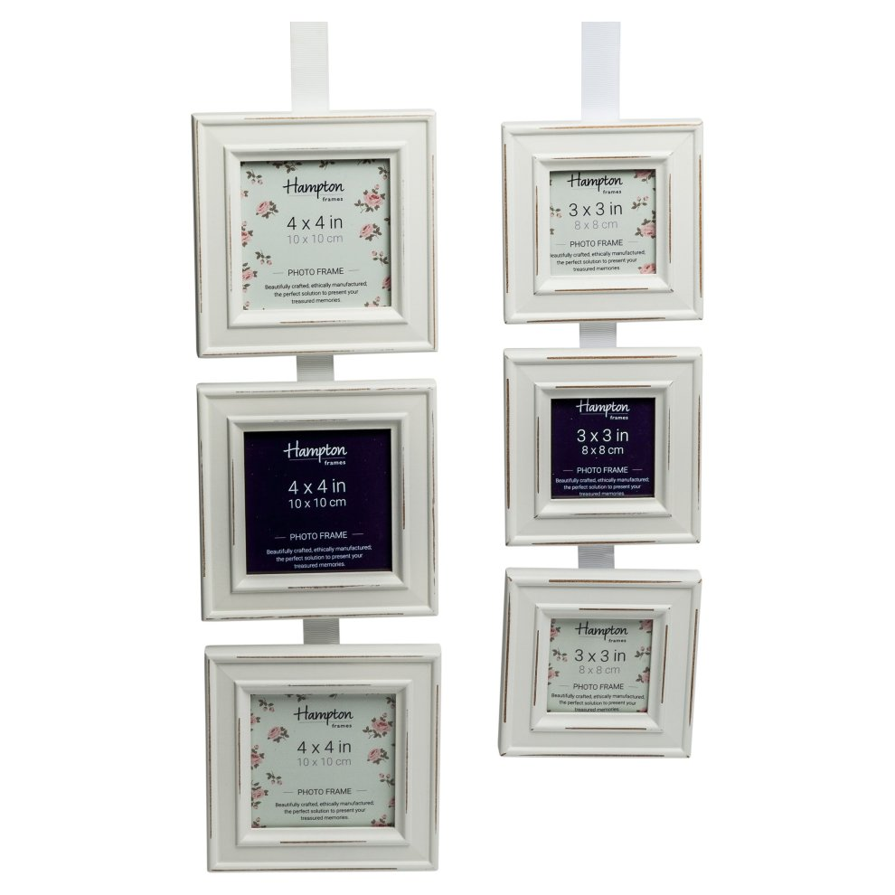 PAL301944T Paloma Square Triple Photo Frame 4x4 (10x10cm) White distressed  wood finish  Black backs with swivel clips  Individually boxed