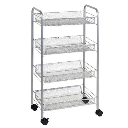 Silver 4 tier mesh rolling cart trolley storage rack wheel - Bathroom storage cart with wheels ...