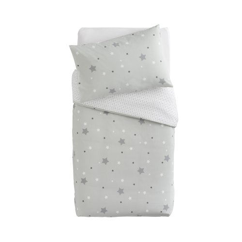 PMP Printed Bedding Set Duvet Cover and Pillowcase Stars Grey 100 x 140 cm