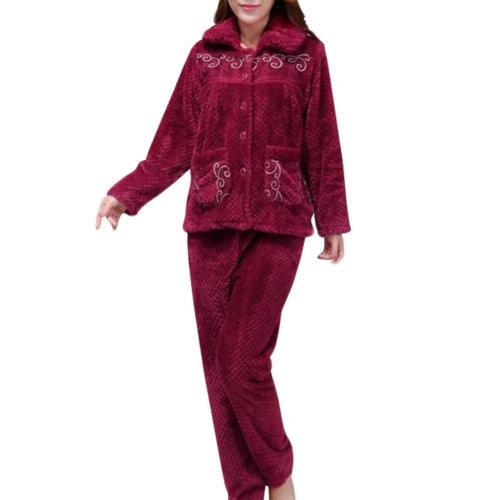 Casual Pajama Set Warm Sleepwear Home Apparel Flannel Pajamas X-large-A11
