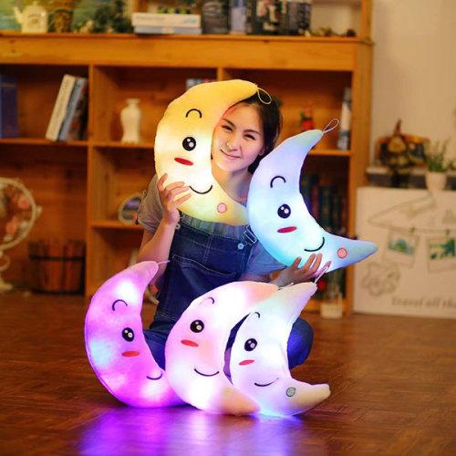 Cute Design Moon Glow LED Pillow Light Soft Cushion