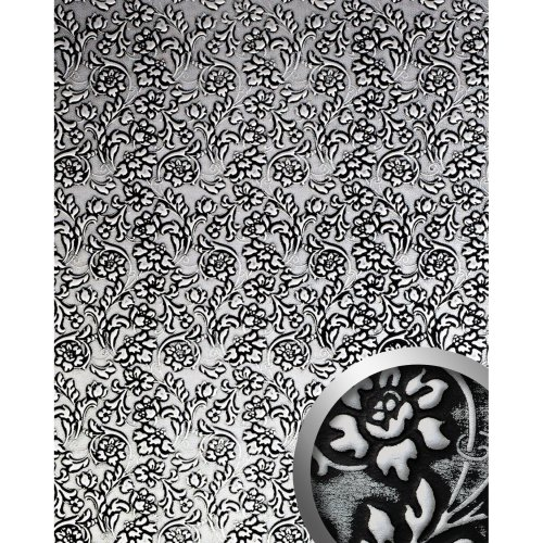 WallFace 13412 FLORAL Wall panel leather baroque flower black silver | 2.60 sqm