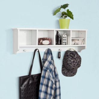 SoBuy® FRG48-L-W, Wall Display Storage Unit Cabinet Wall Coat Rack, White