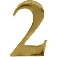 Brass Door Number 2 Self Adhesive 3 Inch