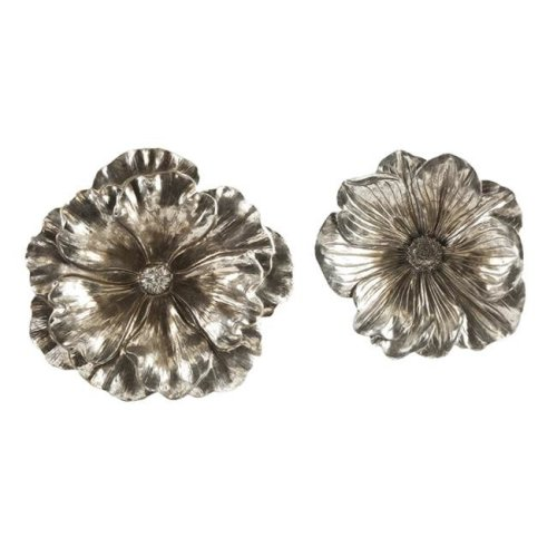IMAX Corporation 53058-2 Natalia Stick Silver Flowers - Set of 2