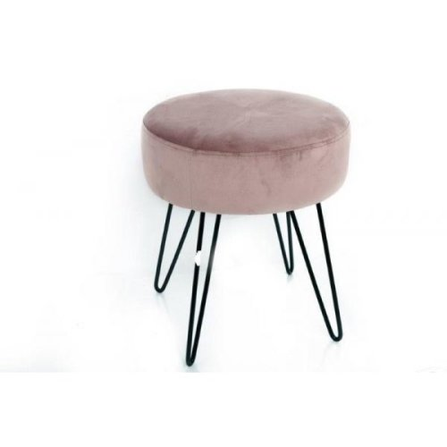 35X40 Pink Velvet Round Stool Leg Rest Wit Metal Wire Legs