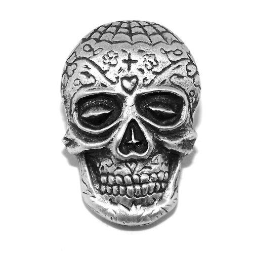 Calavera Sugar Skull Pewter Pin Badge / Brooch (Voodoo Mexican Day of the Dead)
