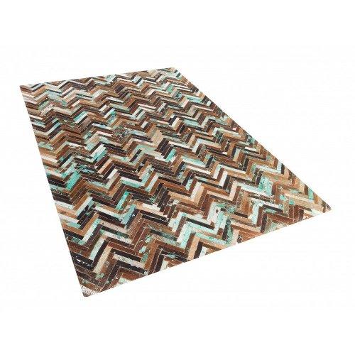 Rug - Carpet - Cowhide Rug - Patchwork -   - Brown Blue Beige - AMASYA