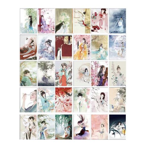 Postcard Hand Set Painting Greeting Retro Card Collection Set
