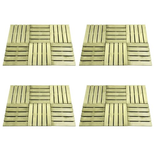 vidaXL 24x Decking Tiles 50x50cm FSC Wood Green Patio Flooring Carpet Board