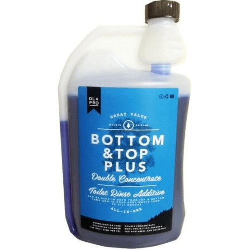 OLPRO Bottom & Top PLUS Caravan & Camping Toilet Fluid & Rinse in Ones (1 Litre Concentrate) x 4 Bottles