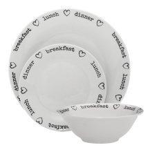 12Pc Charm Dinner Set, White Porcelain