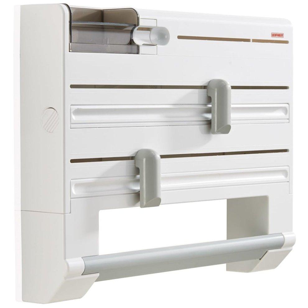 Grey St@llion 4-in-1 Kitchen Roll Dispenser Cling Film Tin Foil Towel Holder Rack Wall Mounted
