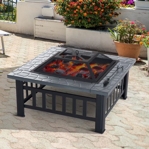 Outsunny Freestanding Metal Fire Pit | Square Garden Fire Pit