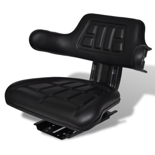 vidaXL Tractor Seat with Backrest Black