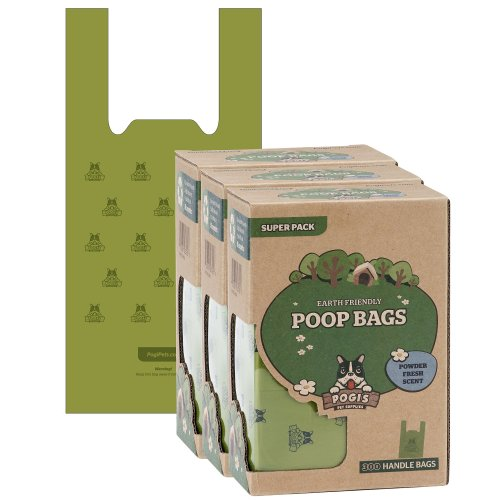 Pogi's Poop Bags - 900 Bags with Easy-Tie Handles - Large, Biodegradable, Scented, Leak-Proof Dog Poo Bags