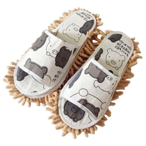 Creative Detachable Mop Slippers Floor Cleaning Shoes Pig