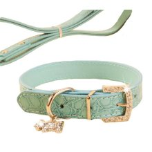 Rhinestone Pet Collars - Dog Leashes - Pet Supplies -- Blue Marbling 1