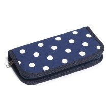 Hobby Gift Navy Polka Dot Crochet Hook Case Filled With Crochet Hooks