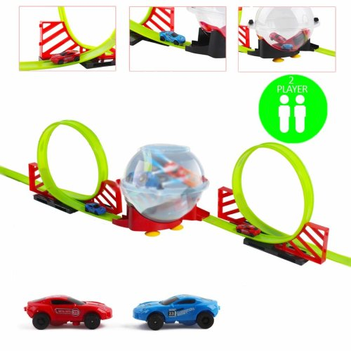 deAO Two Pull Back and Go High Speed Racing Car with double Truck Loops and Tracks,Spinning Battle Bowl, 2-PLAYER Action Racer Toy Cars with Lighting, Fun Family Game Toy!