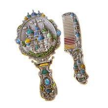European Retro Style Copper Castle Vintage Metal Mirror And Comb Set,Ancient tin