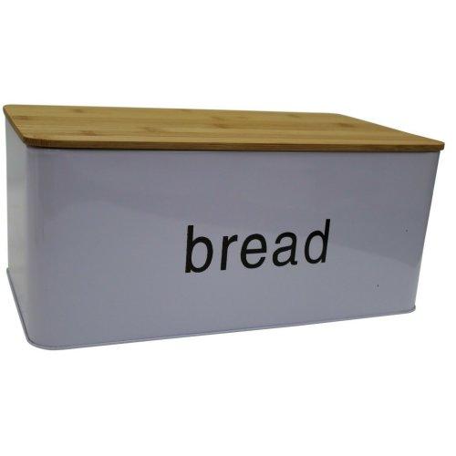 Light Purple Bread Bin Bread Crock with Bamboo Lid Can Be Used Chopping Board