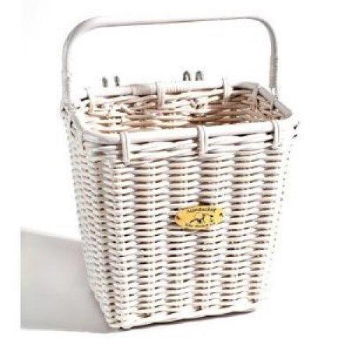 Nantucket Bicycle Basket Co Cruiser Pannier Basket with Hooks White