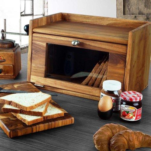 Teak Wooden Bread Box with Chopping Board