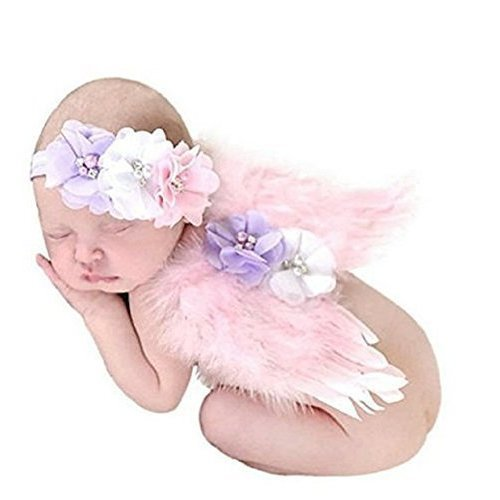 Photo Prop Outfit Baby Girl Angel Feather Wing Costume Chiffon With Headband Newborn Photo Prop Costume Pink