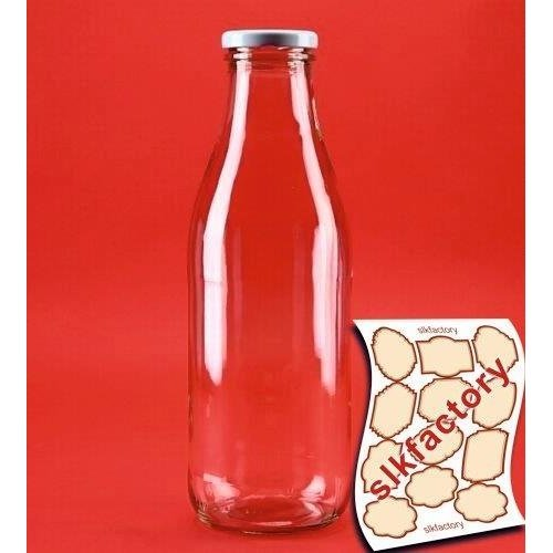 8 pieces 1000 ml Glass MILK Bottles Juice Wide Necked Bottles 1 Litre L With White Lids- slkfactory