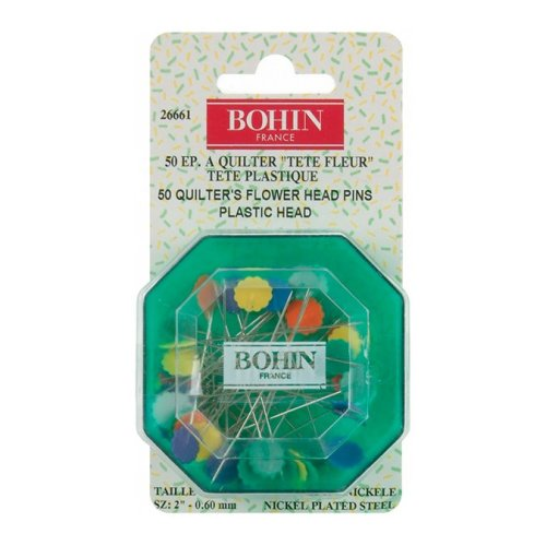 Quilter's Flower Head Pins Assorted Colors-Size 32 50/Pkg